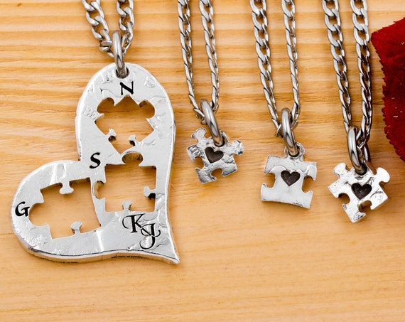 Heart Puzzle Pieces, 4 Family Necklaces, Family Initial Jewelry, Cursive Parent Initials, Engraved Little Hearts for Children, Hand Cut Coin
