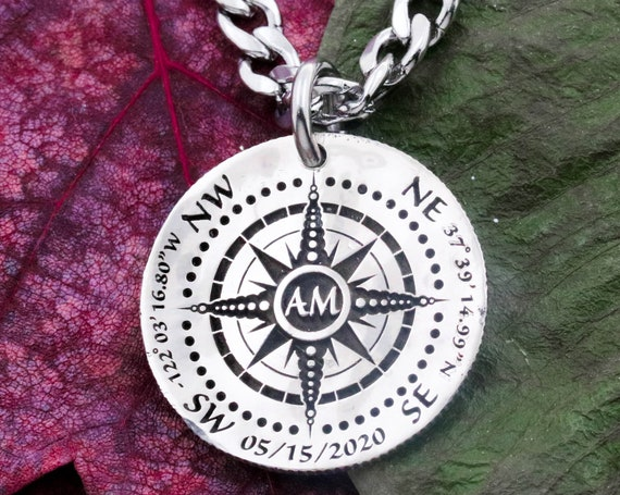 Silver Compass Necklace, Engraved into a Hammered Silver Coin, Custom Date and Initials with Exact GPS Coordinates