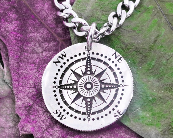 Silver Compass Necklace, Engraved into a Hammered Silver Coin, Engraved Names on the Back