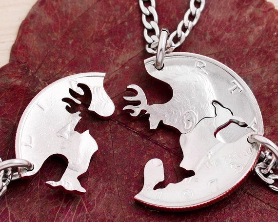 3 Piece Buck and Doe Necklaces, 3 BFF of Family Deer Necklaces, For Friends or Family, Interlocking Buck&Does, Hunting Gifts, Hand Cut Coin