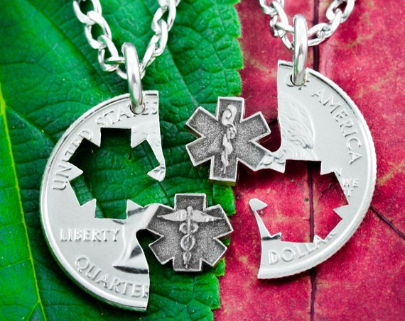 Doctor Necklaces for Couples and Best Friends, Star of Life, Medical Student, Nurse, or Doctor Gifts