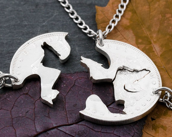 3 Best Friend Wolves and Cat Necklaces, Two Wolves and One Cat, Three Piece Interlocking Friendship Animal Jewelry, Hand Cut Coin