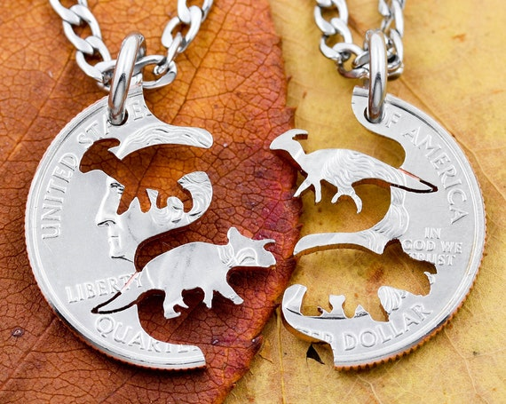 Triceratops and Parasaurolophus Duck-Billed Dinosaurs, Dinosaur BFF Jewelry, Kids Best Friends Necklaces, Hand Cut Coin