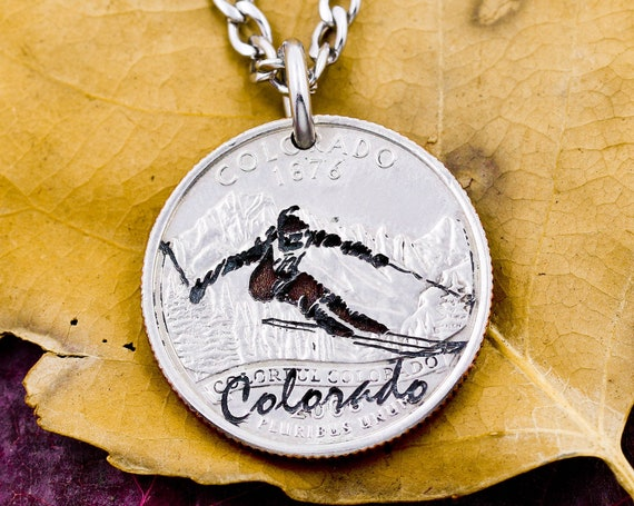 Skier Engraved on a Colorado State Coin, Ski Gift, Athlete, Cross-Country Skis, Sports Jewelry, Engraved State Side Coin