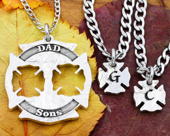 Firefighter Necklaces for Fathers and Children, Engraved DAD and SONS, Custom Initials, 3 Piece FireMen Jewelry, Hand Cut Coin