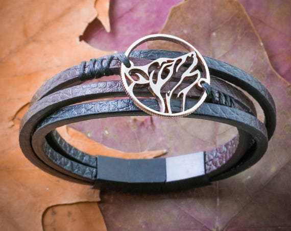 Wolf Bracelet, Howling Wolf Leather Bracelet, Men Or Womens Gift, 3 Bracelet Options, Cut Coin Sewn by Hand on Bracelet