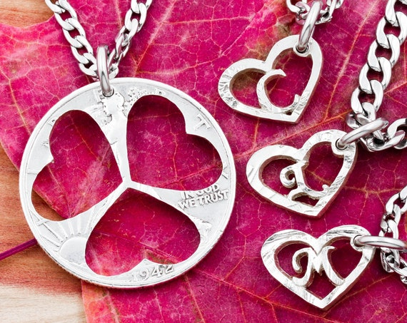 4 Piece Necklace of Hearts 3 Little Hearts with Custom Initials, Single Parent Families, Children Jewelry, Hand Cut Coin