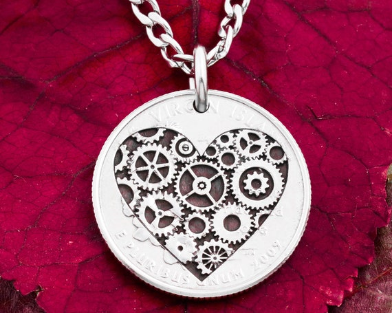 """Heart-Shaped Steampunk Necklace, """"Turning"""" Gears Inside an Engraved Coin"""