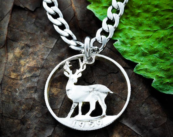 Buck Necklace, Deer Hunting Gift, Guy Gift, Boyfriend Gift, Hand Cut from a coin