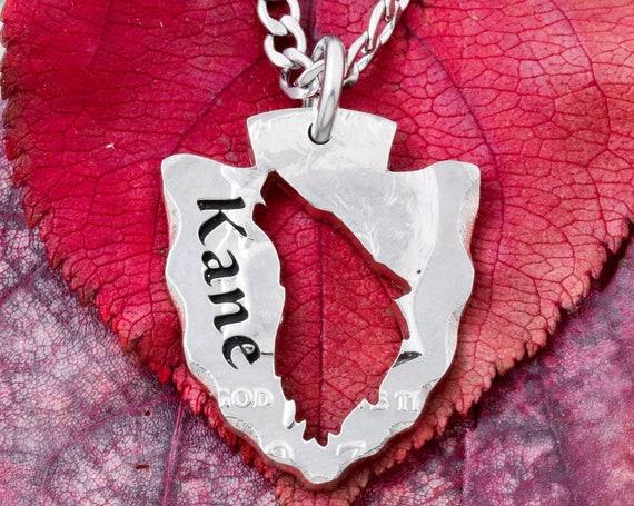 Arrowhead Wolf Necklace, Custom Engraved Name, Tribal Arrowhead Jewelry, Howling Wolf, Hand Cut Coin