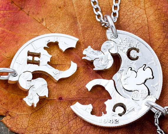 3 Piece Squirrel Necklaces with Initials, Family Jewelry, Short Attention Span Friends Gifts, Hand Cut Coin
