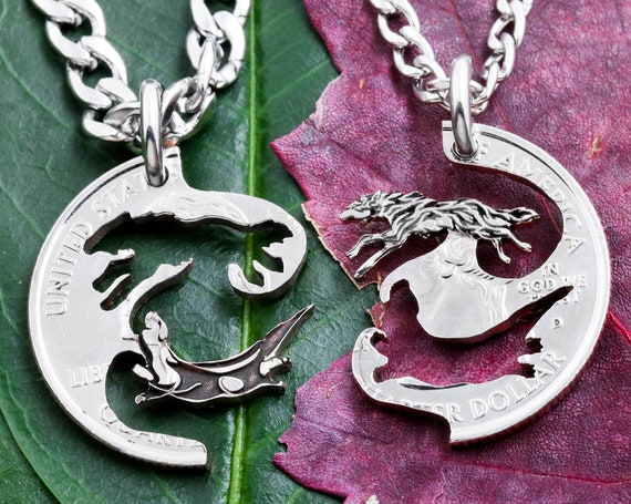 Wolf and Otter Best Friends Jewelry, BFF Interlocking Necklaces, Animal Jewelry, Made From a Hand Cut Coin