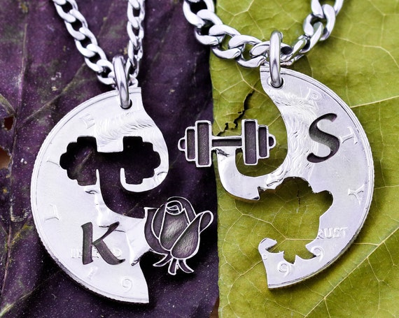 Weight Lifter and Rose Necklaces, Guy and Girl Necklaces, BFF's or Couples Necklaces, Custom Engraved Initials, Interlocking Hand Cut Coin
