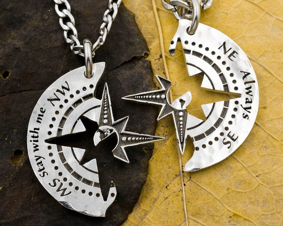 """Engraved Silver Compass Necklaces with World Map in Center, """"Stay with Me Always"""", BFF Gifts, Long Distance Relationship, Hand Cut Coin"""