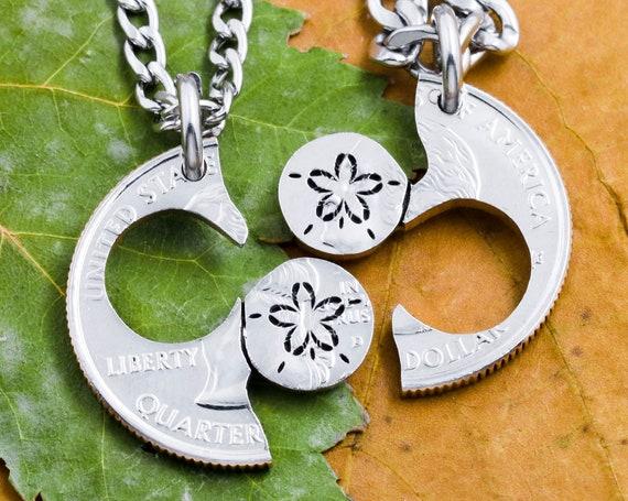 Engraved Flower BFF Necklaces, Best Friends Gift's, Girl's Jewelry, Children's Apparel, Interlocking Hand Cut Coin