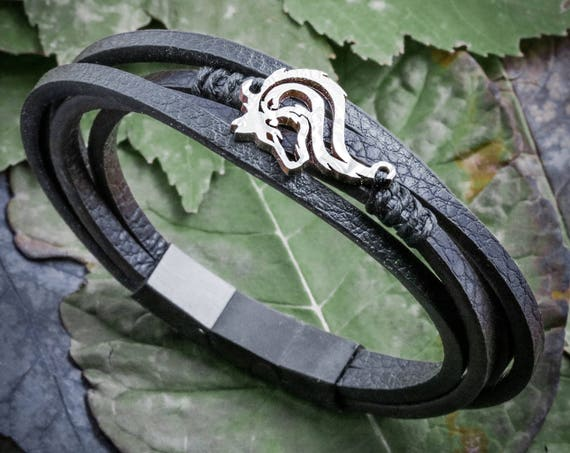 Leather Wolf Bracelet, Hand Sewn, Magnetic clasp, Hand Cut Coin, Lone Tribal Wolf