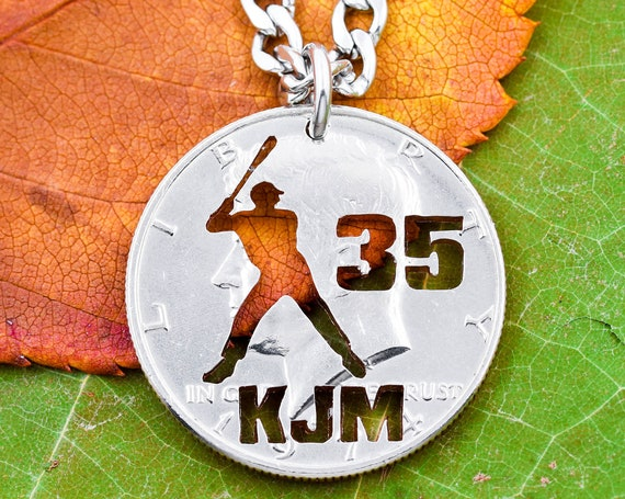 Baseball Batter Necklace with Custom Cut Initials and Jersey Number, Baseball or Softball Necklace, Sports Jewelry, Hand Cut Coin
