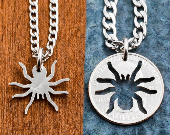 Spider Necklaces for BFF or Couples Jewelry, Best Friend Gifts, Inside Outside Pieces, Relationship Gifts, Hand Cut Coin