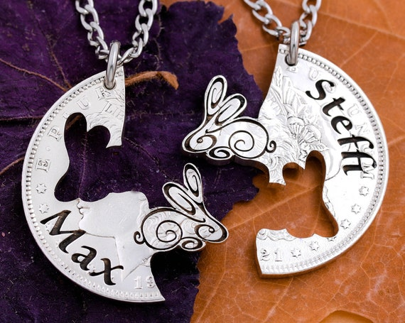 Bunny Rabbit Necklaces with Custom Engraved Names, BFF Gifts, Friendship Animal Jewelry Set, Hand Cut Coin