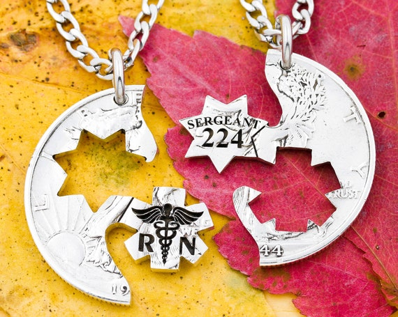 RN Nurse and Police Badge Couples Necklaces, Custom Number Sergeant Star Badge, His and Her Relationship Jewelry, Interlocking Hand Cut Coin