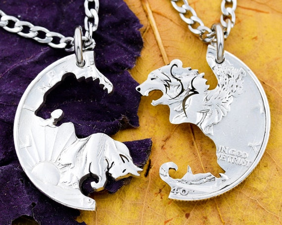 Bear and Bull Necklace Set, BFF and Couples Necklaces Interlocking Animal Jewelry, Hand Cut Coin