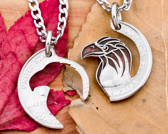 Eagle Head Pendant Necklaces, Bird Jewelry, Couples Gifts, Interlocking Relationship Sets, Hand Cut Coin