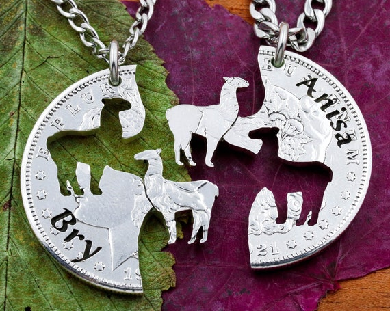 Llama Best Friends Necklaces with Custom Engraved Names, BFF Gift, Couples Animal Jewelry, Personalized Hand Cut Coin