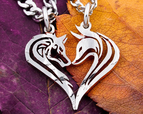Wolf and Fox Couples Necklaces, Animals Make Heart When Together, Interlocking Hand Cut Coin