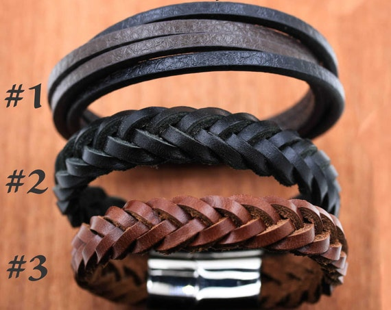 Bracelet Options-Upgrade, 3 Options, We will sew by hand your coin or pendant to one of our Weaved and Braided Leather Bracelets