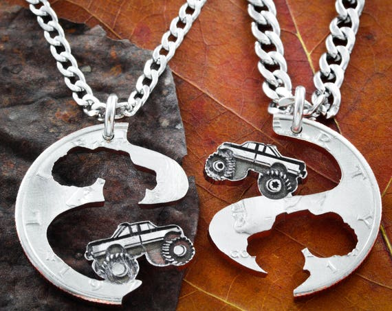 Best Friend Truck Necklaces, Mudding Tires, BFF Gifts, Mud Bogging, 4X4, Monster Trucks, Couples Jewelry, 4 wheelers, Big Tires, Cut Coin