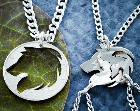 4 Best Friends Wolf necklaces, 4 BFF Gifts, Wolf Pack, Family Jewelry, Interlocking Like A Puzzle, hand cut coin