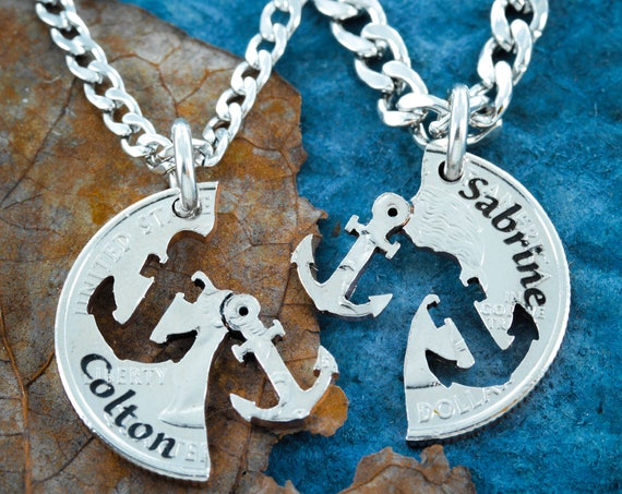 Anchor Necklaces for 2, Custom Names, Best friends necklace, BFF or Couples Gift, Relationship set hand cut coin