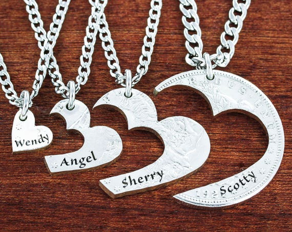 4 Best Friends Heart Necklaces, Custom Names Engraved, Love Necklaces, Four BFF or Family Gifts, <3 Jewelry