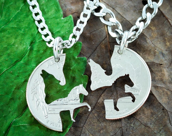 Wolf and Horse Best Friends Jewelry, BFF puzzle piece gifts, Wolf couples necklace, Horse BFF necklace, Made from a Hand Cut Coin