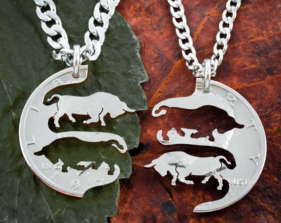 Champion Bull Necklaces, Cattle Jewelry, Show Steer Pendant, Best Friends or Couples Jewelry, Charging Bulls, Cows, Hand Cut Half Dollar