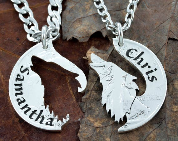 Howling Wolf Couples Necklaces for 2, Custom Engraved Names, His and Hers Matching Couples Jewelry, Hand Cut Coin