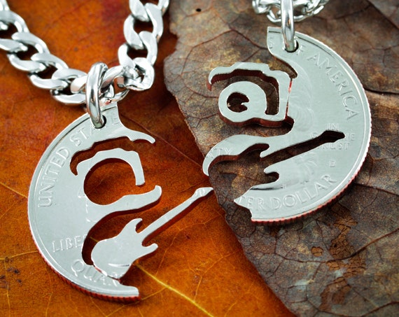 Guitar and Camera Necklaces, BFF Gifts, Photographer necklace, Guitarist gift,  interlocking hand cut coin