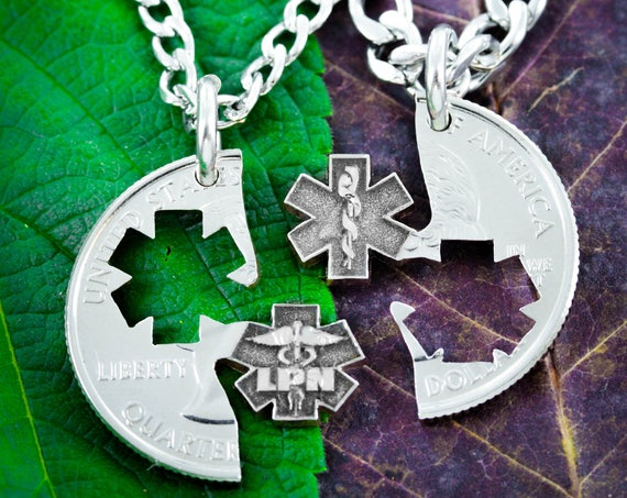 LPN Nurse Necklaces for Couples and Best Friends, BFF Gifts for 2, Doctor and Nurse Gifts
