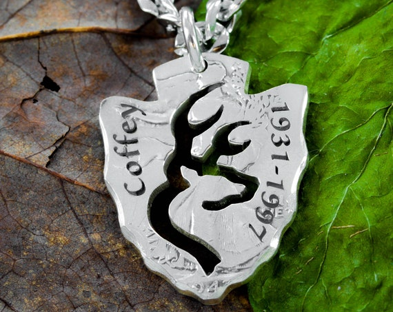 Memorial Arrowhead Necklace with Name and Date, Buck hunters jewelry, In memory of necklace , Gift for Men, hand cut and engraved coin
