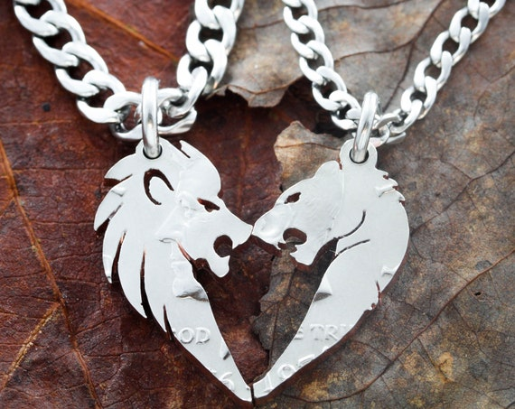 Lion gifts, Lion and Lioness Necklaces for Couples, making a heart set, Hand Cut Coin