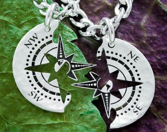 Compass Couples Necklaces, Engraved Silver, Best Friends Forever, BFF Gifts, Travel Jewelry, Long Distance Relationship, Hand Cut Coin