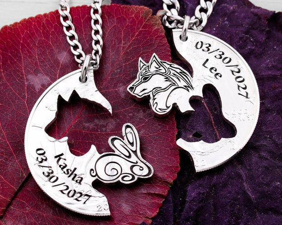 Wolf and Bunny Necklaces with Engraved Custom Names and Dates, Animal Jewelry, BFF and Couples Relationship Set, Hand Cut Coin