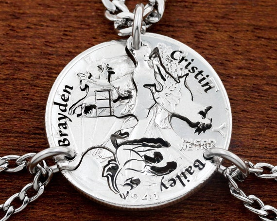 3 Piece Calf Roping Necklaces with Engraved Names Calf Ropers and Horses, Family Jewelry, Interlocking Hand Cut Coin