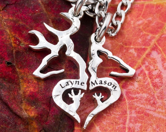 Buck and Doe Family Necklaces with Baby Spike Deer's, Custom Names Engraved, Heart-Shaped Hunting Jewelry, Interlocking Love, Hand Cut Coin