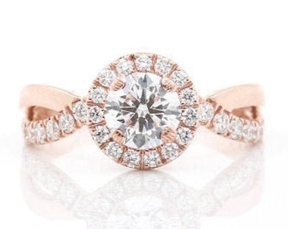 Weaved Halo Ring, .5 Carat Diamond, Rose, White, or Yellow Gold, 14K, Engagement Ring