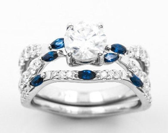 Floating Engagement Ring 1k Ring, With real Blue Sapphires and diamond chips