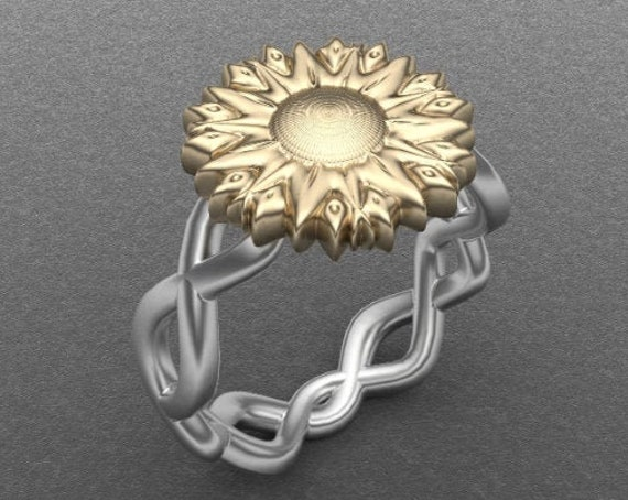 Gold Sunflower Ring, White and Yellow gold, Fine Jewelry, Artistic Ring