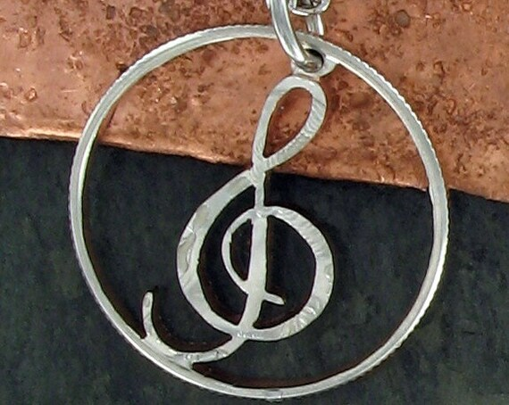 Treble Clef Music Note Necklace, Hand Cut Coin
