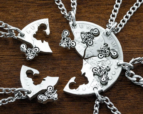 Dirtbike Best Friend Necklaces, 6 piece, Hand cut and Engraved coin, Motocross Dirt Bike Gifts, Interlocking Friends\Family Necklaces