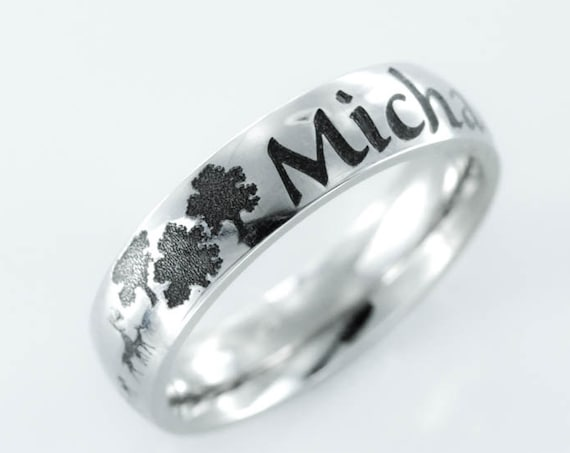 Family Name ring, Deer family and forest scene, Engraved Stainless Steel, Personalized comfort fit 5mm ring